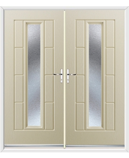 Vermont French Rockdoor in Cream with Gluechip Glazing