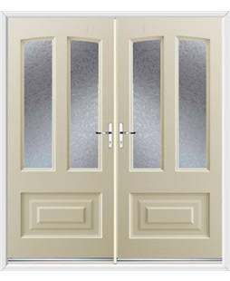 Illinois French Rockdoor in Cream with Gluechip Glazing
