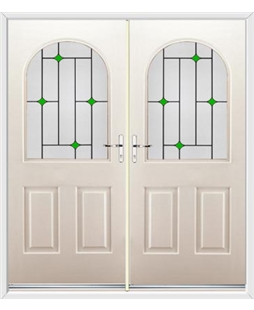 Kentucky French Rockdoor in Cream with Green Diamonds
