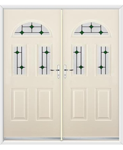 Tennessee French Rockdoor in Cream with Green Diamonds