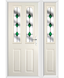 The Aberdeen Composite Door in Cream with Green Diamonds and matching Side Panel