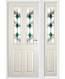 The Birmingham Composite Door in Cream with Green Diamonds and matching Side Panel
