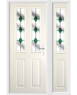 The Cardiff Composite Door in Cream with Green Diamonds and matching Side Panel