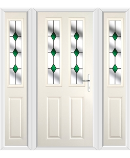 The Cardiff Composite Door in Cream with Green Diamonds and matching Side Panels