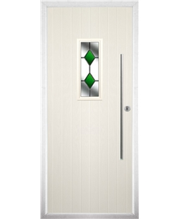 The Zetland Composite Door in Cream with Green Diamonds