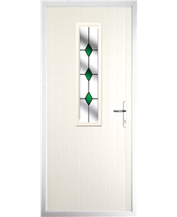 The Sheffield Composite Door in Cream with Green Diamonds