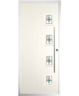 The Norwich Composite Door in Cream with Green Fusion Ellipse