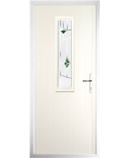 The Sheffield Composite Door in Cream with Green Murano