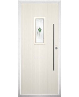 The Zetland Composite Door in Cream with Green Murano