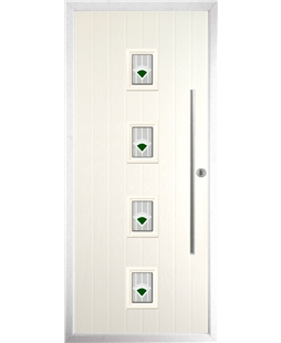 The Leicester Composite Door in Cream with Green Murano