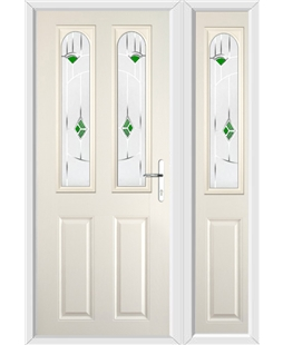 The Aberdeen Composite Door in Cream with Green Murano and matching Side Panel