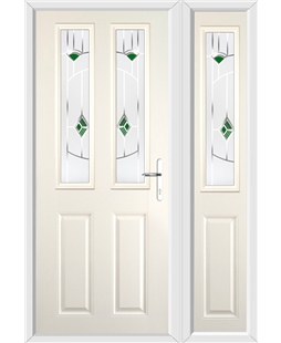 The Cardiff Composite Door in Cream with Green Murano and matching Side Panel