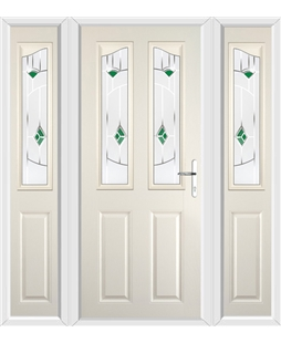 The Birmingham Composite Door in Cream with Green Murano and matching Side Panels