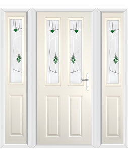 The Cardiff Composite Door in Cream with Green Murano and matching Side Panels