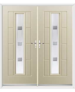 Vermont French Rockdoor in Cream with Grey Shades
