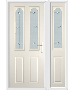 The Aberdeen Composite Door in Cream with Jewel Glazing and Matching Side Panel
