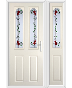 The Aberdeen Composite Door in Cream with Mackintosh Rose and matching Side Panel