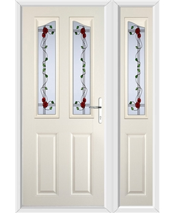 The Birmingham Composite Door in Cream with Mackintosh Rose and matching Side Panel