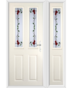 The Cardiff Composite Door in Cream with Mackintosh Rose and matching Side Panel
