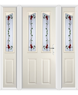 The Birmingham Composite Door in Cream with Mackintosh Rose and matching Side Panels