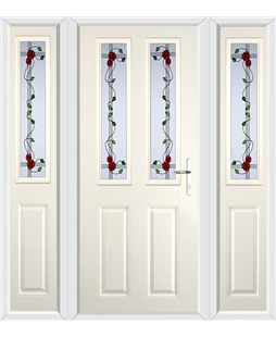 The Cardiff Composite Door in Cream with Mackintosh Rose and matching Side Panels