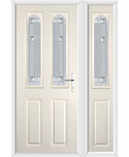 The Aberdeen Composite Door in Cream with Milan Glazing and Matching Side Panel