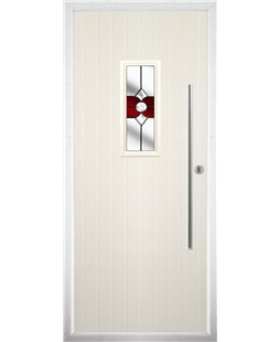 The Zetland Composite Door in Cream with Red Crystal Bohemia