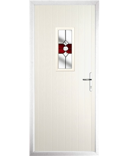 The Taunton Composite Door in Cream with Red Crystal Bohemia