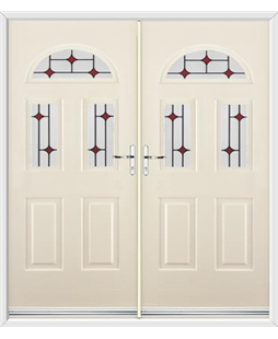 Tennessee French Rockdoor in Cream with Red Diamonds