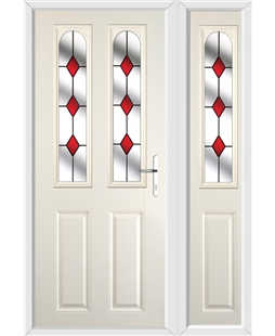 The Aberdeen Composite Door in Cream with Red Diamonds and matching Side Panel