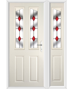 The Birmingham Composite Door in Cream with Red Diamonds and matching Side Panel