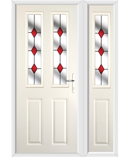 The Cardiff Composite Door in Cream with Red Diamonds and matching Side Panel