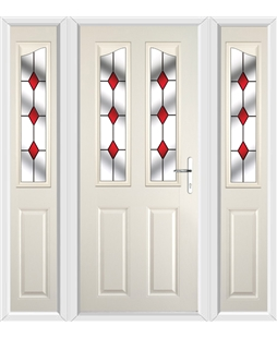 The Birmingham Composite Door in Cream with Red Diamonds and matching Side Panels