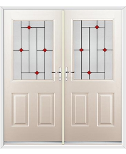 Windsor French Rockdoor in Cream with Red Diamonds