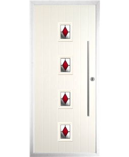 The Leicester Composite Door in Cream with Red Diamonds