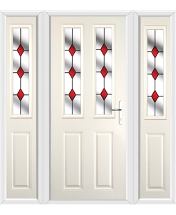 The Cardiff Composite Door in Cream with Red Diamonds and matching Side Panels