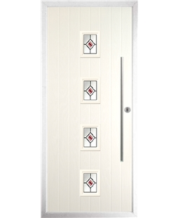 The Leicester Composite Door in Cream with Red Fusion Ellipse