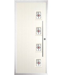 The Norwich Composite Door in Cream with Red Fusion Ellipse