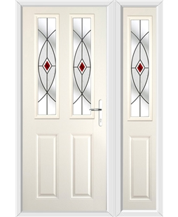 The Cardiff Composite Door in Cream with Red Fusion Ellipse and matching Side Panel