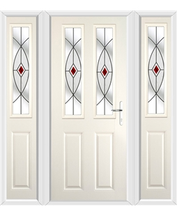 The Cardiff Composite Door in Cream with Red Fusion Ellipse and matching Side Panels