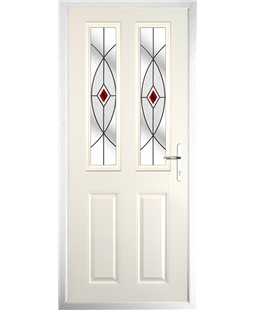 The Cardiff Composite Door in Cream with Red Fusion Ellipse