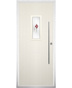 The Zetland Composite Door in Cream with Red Murano