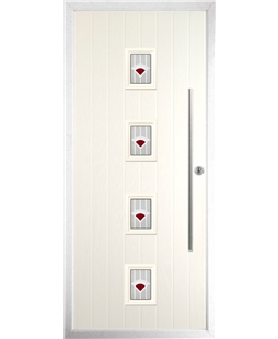 The Leicester Composite Door in Cream with Red Murano