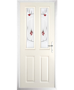 The Cardiff Composite Door in Cream with Red Murano