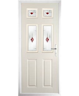 The Oxford Composite Door in Cream with Red Murano