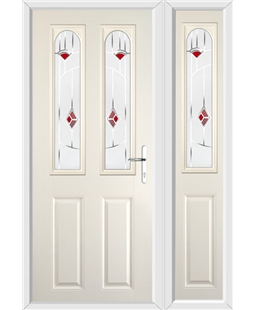 The Aberdeen Composite Door in Cream with Red Murano and matching Side Panel