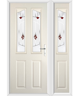 The Birmingham Composite Door in Cream with Red Murano and matching Side Panel