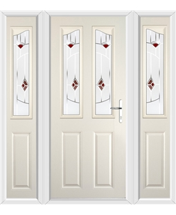 The Birmingham Composite Door in Cream with Red Murano and matching Side Panels