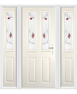 The Cardiff Composite Door in Cream with Red Murano and matching Side Panels
