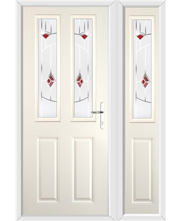 The Cardiff Composite Door in Cream with Red Murano and matching Side Panel